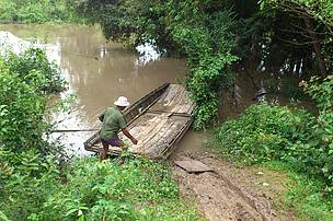 A small boat which use to carry motorbike from one land to another land