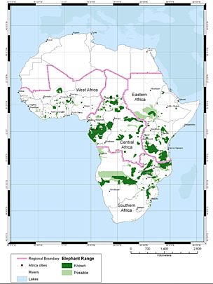 IUCN African Elephant Red List Range Map