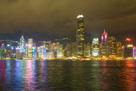 Night view of Victoria Harbour, before and during Earth Hour 2014.