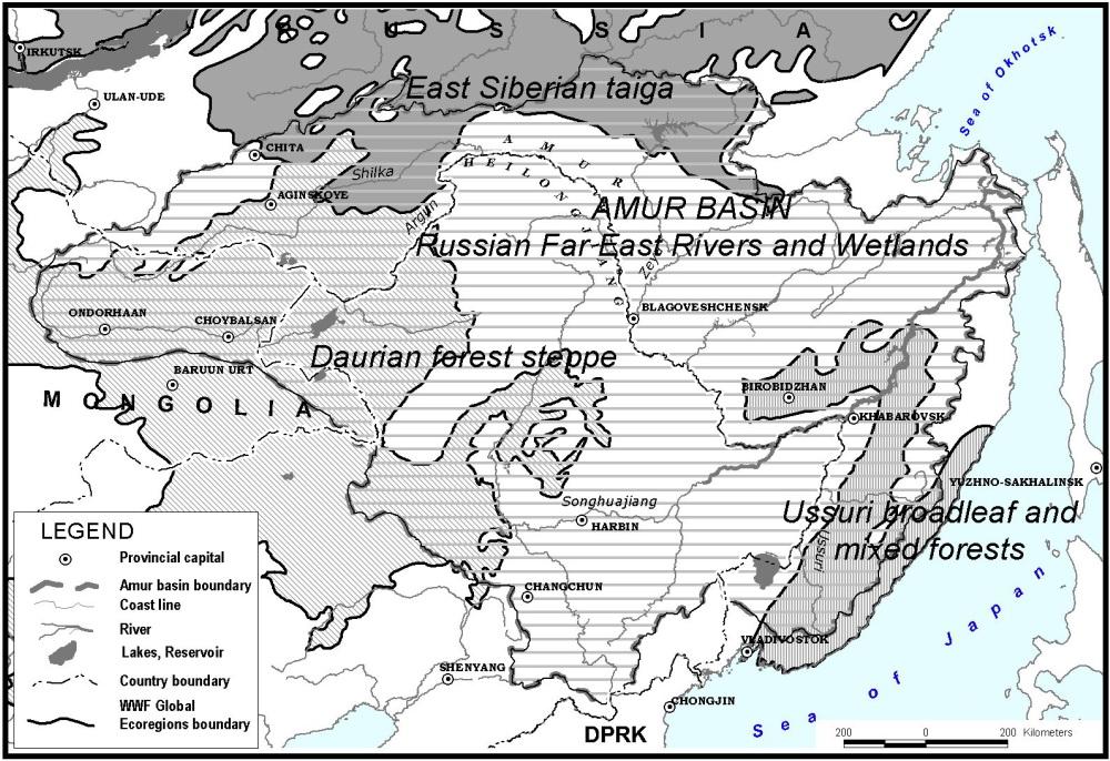 Global 200 Ecoregions in the Amur-Heilong   WWF