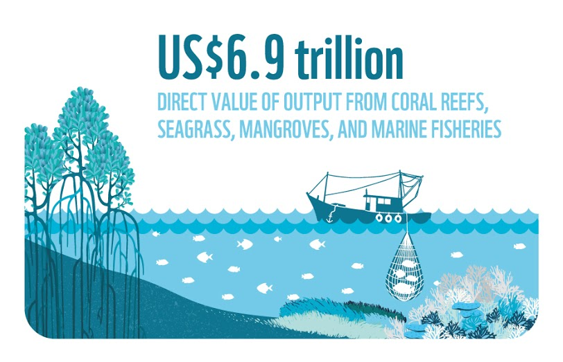 The direct value of output from coral reefs, seagrass, mangroves, and marine fisheries is US$6.9 trillion