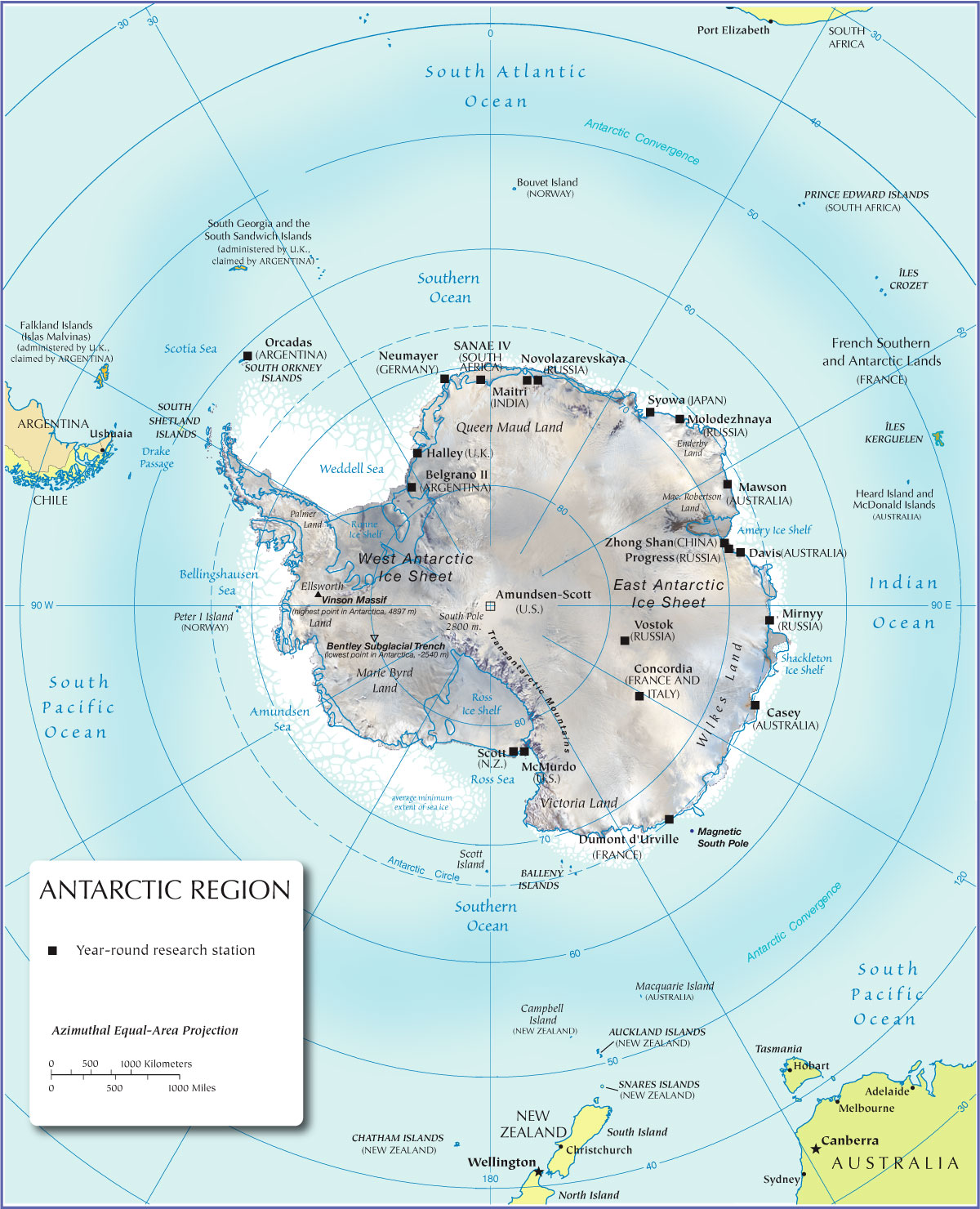 Map of the Antarctic region
