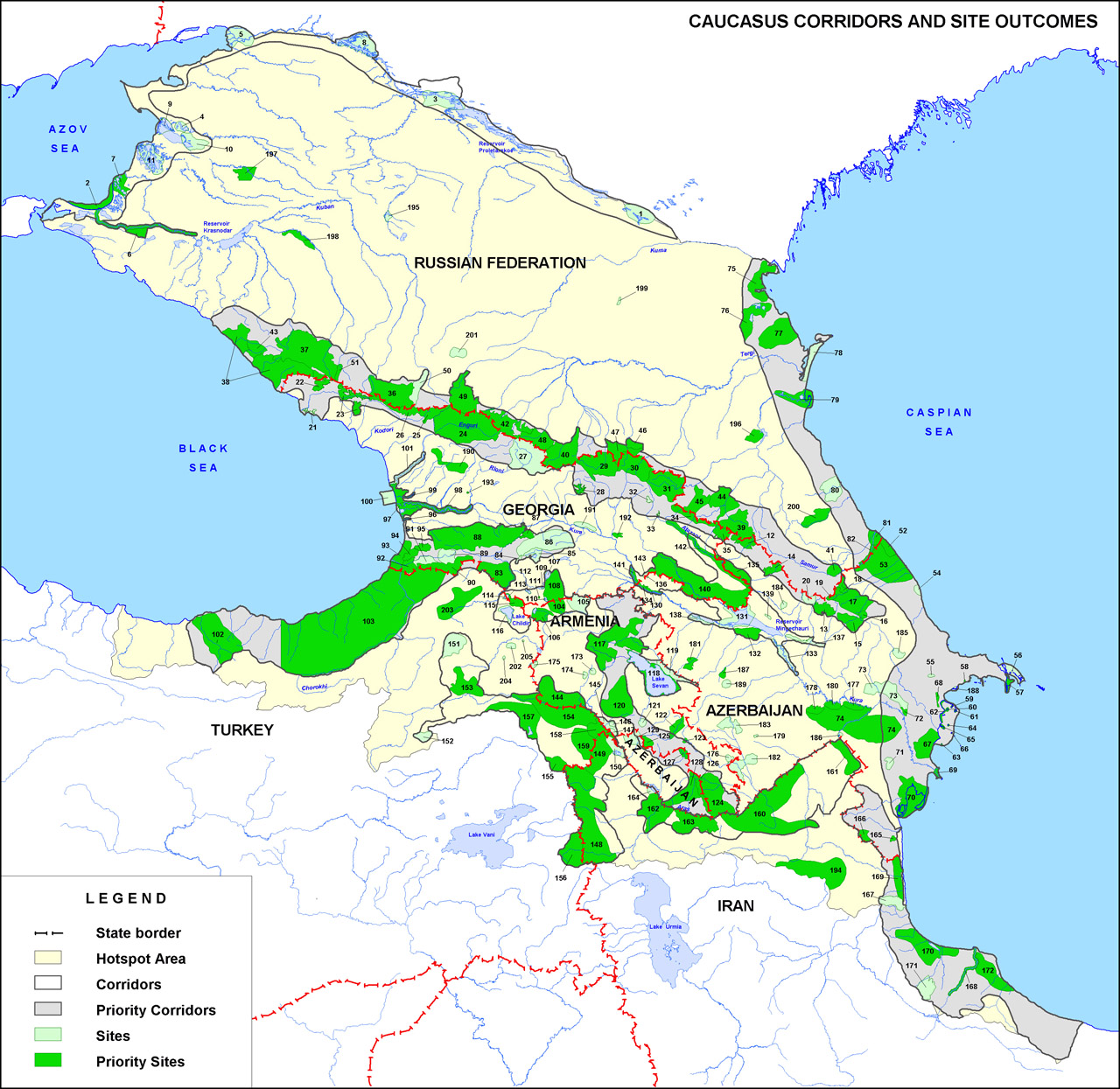 Caucasus Critical Ecosystem Partnership Fund WWF - Georgia map key