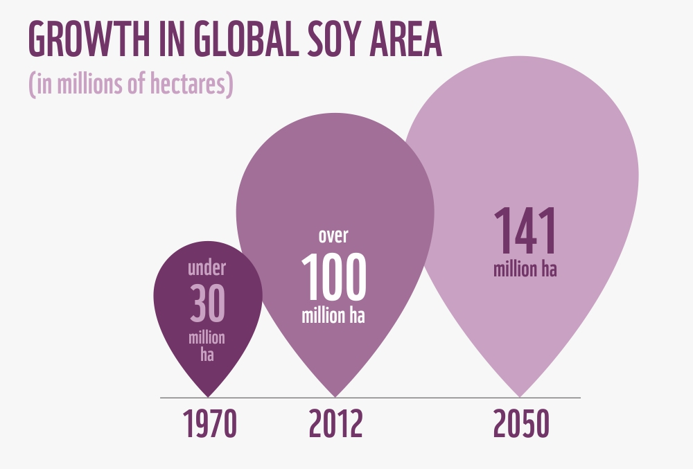 Growth in global soy area
