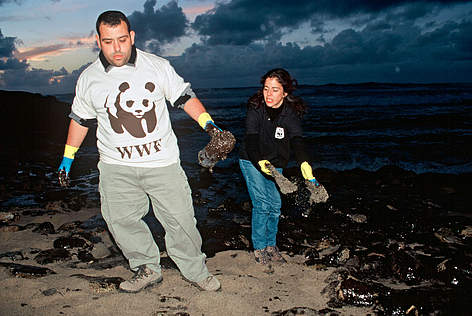 Volunteers from WWF/ADENA Spain collect fuel oil for analysis in the wake of the 'Prestige' oil ... rel=