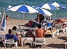 Tourists beach in Kemer, Mediterranean Sea, Turkey.