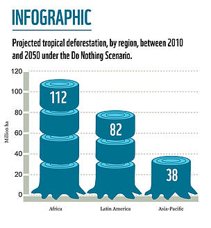 Projected tropical deforestation, by region, between 2010 and 2050 under the Do Nothing Scenario.