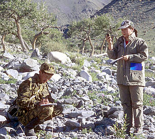 WWF research team monitoring snow leopard presence in the Altan Khokki range, Khar Us Nuur National ...  © Hartmut Jungius / WWF